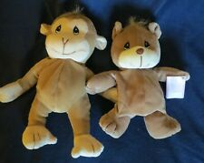Vtg Precious Moments Tender Tails Brown Bear and Brown Monkey w/tags