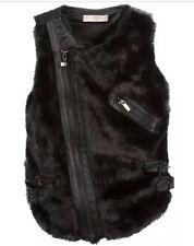 BNWOT Supertrash Girls Vanentina Black Faux Fur Leather Gilet Size 16 Years 176