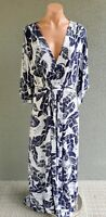 💜 BNWT BEME RRP$100 Batwing Maxi Dress Navy White Size 18 Buy7=FreePost L821