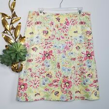 346 Brooks Brother Bright Multicolor Floral A-line Skirt Size 14 Lined Stretch