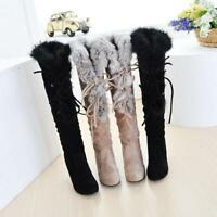 Ladies Women Warm Fur Knee High Boots Lace Up Shoes Pull On High Heel Slim Shoes