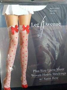 New White Stockings Valentine Red Hearts Red Bow Queen XL Size Packaged