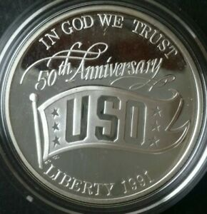 1991 S Proof $1 United States USO Commemorative Silver Dollar