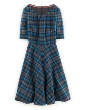Boden Short Sleeved Blue Wool tartan patern dress 18R Worn Once Immaculate