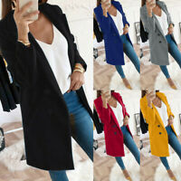 UK Womens Overcoat Woolen Trench Coat Ladies Winter Long Jacket Plus Size 6-20