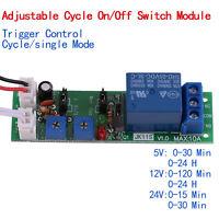DC 5V 12V 24V Adjustable Cycle On/Off Switch Timer Relay Module Trigger Control