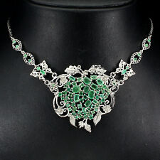 160 CTS! OUTSTANDING!! NATURAL TRANSPARENT GREEN EMERALD & SAPPHIRE 925 NECKLACE