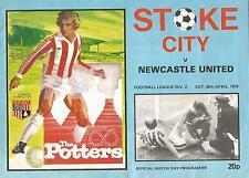 Football Programme - Stoke City v Newcastle United - Div 2 - 28/4/1979