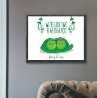 Two Peas in a Pod Personalised Wedding Anniversary Gift Couples Wall Art Print
