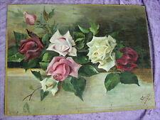 Altes Gemälde Rosen von 1913 Polen Polska oder Russland Russia