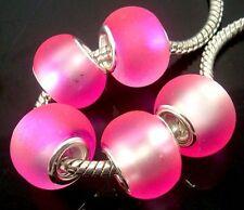 Fashion tow-Tone Matting European Lampwork Glass DIY Beads fit Charm Bracelet