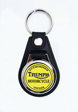 AUTHORIZED TRIUMPH MOTORCYCLE OWNER FAUX LEATHER KEY RING/KEY FOB.