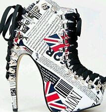 "RED KISS ""Rocky"" Bootie CURVED HEEL British UK Pattern PLATFORM Lace Up URBAN"
