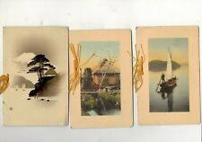 JAPAN THREE OLD GREETING CARDS SEE PICTURES