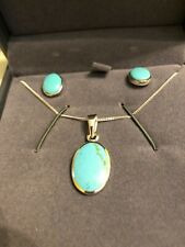 """BNIP TUSCANY STERLING SILVER OVAL TURQUOISE 18"""" PENDANT & EARRINGS SET RRP £40"""
