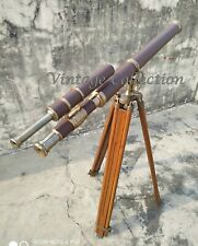"""39"""" Antique Nautical Maritime Brass Leather Telescope with Wooden Tripod Stand"""