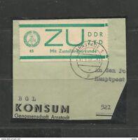DDR. Dienstmarke für Sendungen mit Zustellungsurkunde, ZKD Nr. 1 E, Briefstück