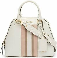 Calvin Klein Clara Stucco Leather Key Item Dome Satchel (White) - NWT