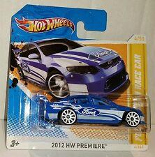 V8 SUPERCAR ~ Ford Falcon Race Car BLUE ~ HOT WHEELS 2012 PREMIERE ~ SHORT CARD