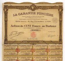 Garantie Foncière S.A., Immobilien-Ges., Aktie, 100 Francs, Lyon, 28.05.1929