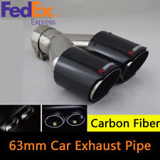Real Carbon Fiber+Stainless Steel 63mm Inlet Car Exhaust Pipe Dual Outlet Glossy