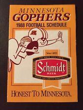 Minnesota Gophers 1988 Ncaa football pocket schedule - Schmidt Beer