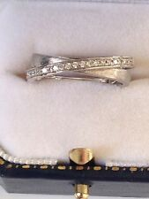 Textured 14k White Gold 1/4ct diamond bypass Crossover band ring Artisan 5.5 NEW