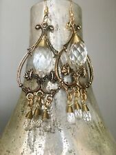 Lace' Faux Gold Crystal Dangle The Collection by Eden Earrings, 'Vintage