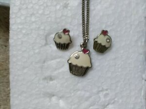 Accessorize Fairy Cake Cupcake Matching Set Earrings & Necklace Jewellery