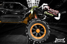 TRAXXAS X-MAXX CHASSIS / SHOCK TOWER PRINTED CARBON FIBER GRAPHICS DECALS ORANGE