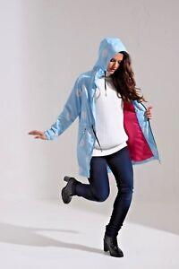 Charcoal Women's Dusty Blue Floral Print Water Resistant Festival Mac / Raincoat