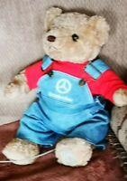 "Mercedes Benz Herrington's Collection 16"" Teddy Bear Plush Toy Denim Overalls"