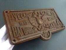 Cast-iron plate Russian Empire 1913 Russian-Baltic Wagon Plant Riga