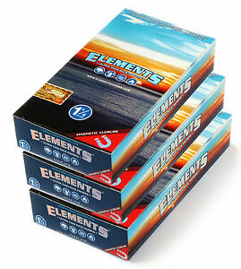 3 boxes - ELEMENTS 1 1/4 Ultra thin Rice Rolling paper with MAGNETIC CLOSURE