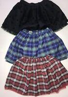 Lot of 3! Lands' End/Cherokee Girls Blue/Red Plaid & Black Polka Dot Skirts Sz L