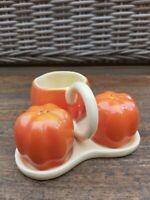 Salt & Pepper Ceramic Novelty Cruet Set Salt & Pepper Tomatoes Design & Tray