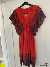 ANTIK BATIK size S, cotton, bembroidered beautiful quality dress, red coral