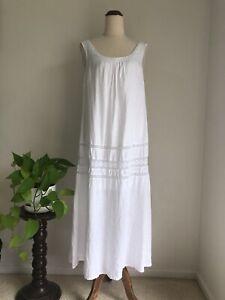 Hammock And Vine White Linen Maxi Dress 10 Boho Festival