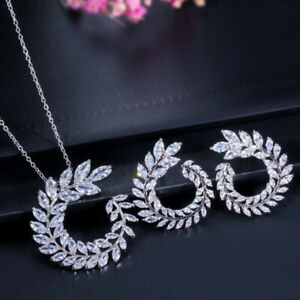 Leaf Round Olive Branch Marquise Necklace Earring Jewelry Set Sparkling White CZ