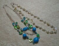 MULTI STRAND BLUE GREEN & WHITE LUCITE FAUX PEARL & SHELL BEADED NECKLACE LOT