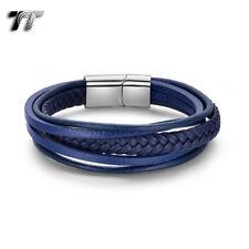 TT Blue Leather Multi Stripe 316L Stainless Steel Buckle Bracelet (BR314F) NEW