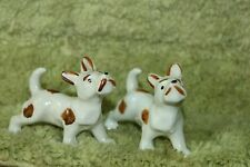 Vintage Small White And Brown Porcelain Dogs Scotties? Japan