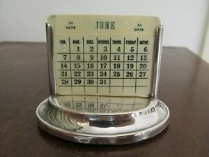 Antique Sterling Desk Calendar Birmingham 1911 - 12 William Vale & Sons Engraved