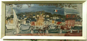 LARGE VINTAGE RAOUL DUFY PRINT - THE REGATTA - FRAMED WITH GLASS FRONT