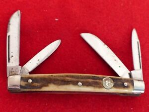 """Hen & Rooster Germany 3.5"""" closed Genuine Stag congress knife"""
