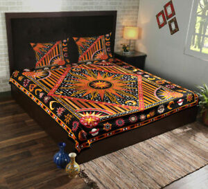 Indian Ethnic Sun Moon Print Queen Size Bed Cover With 2 Pillow Case Bed Sheet