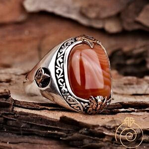 Natural Agate Stone Ring Handmade Silver Custom Signet Mens Vintage Cool Jewelry