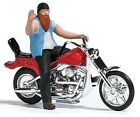 HO Scale Busch 7861 Red American Motorcycle with Biker Figure