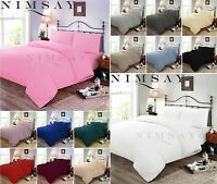 Easy Care Plain Soft Quilt Duvet Cover Bedding Set Polycotton Single Double King