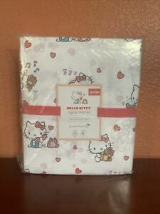 Pottery Barn Kids QUEEN Hello Kitty Organic Sheet Set Cotton Cats ❤️ Valentines
